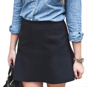 J.Crew Black Fluted Mini Skirt in Double Crepe